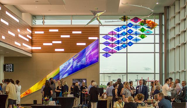 "Philip Noyed's ""Leap of Joy"" at the Minneapolis-St. Paul International Airport."