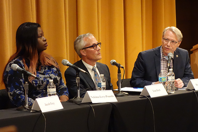 Candidates Nekima Levy-Pounds, Tom Hoch and State Rep. Raymond Dehn