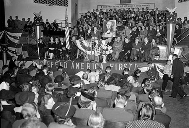 Charles Lindbergh speaking at an America First Committee rally in Indiana.