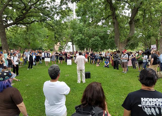 Demonstrators gathered at Loring Park on Saturday