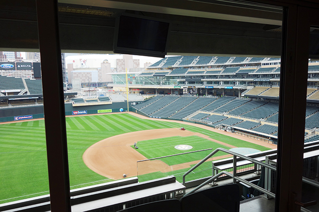 The view of the field from the Minnesota Ballpark Authority Target Field suite.