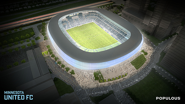 Aerial view of the proposed soccer stadium design.