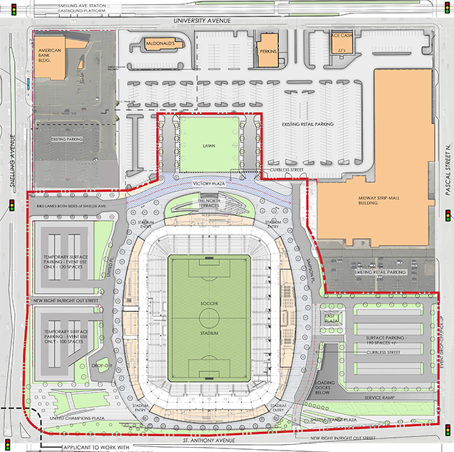 While the long-term master plan for the RK Midway site promises more green space and commercial and residential development, this is what is likely to built when the stadium opens in early spring, 2018.