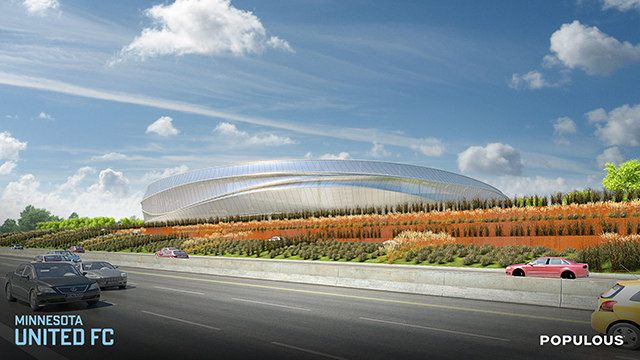 A rendering of the Midway soccer stadium as seen from Interstate 94.