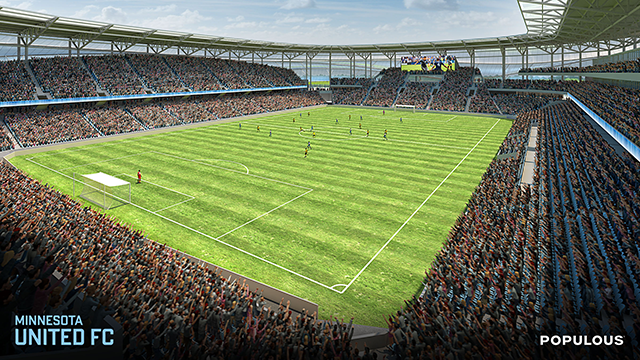 Interior view of the proposed stadium, shown from the south.