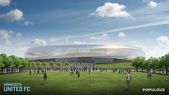 Proposed stadium design viewed from the south.