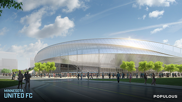 Proposed stadium design viewed from the south east.