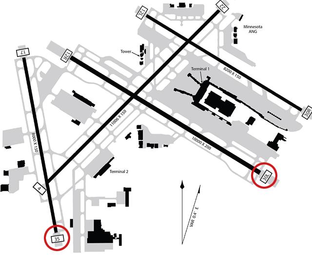 Runway map of MSP