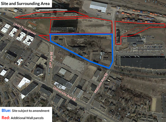 Residential buildings would be permitted in the property outlined in blue