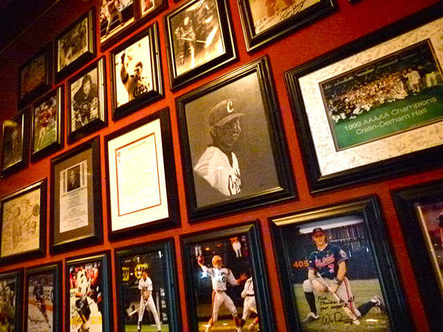 Sports photos on the walls of Mancini's