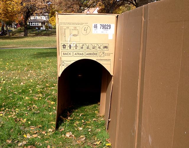 The MAZE OF DOOM cardboard labyrinth near Cedar Avenue.