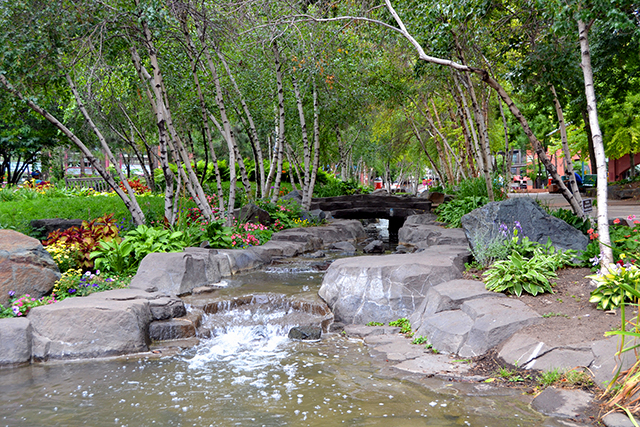A brook flowing through the remodeled Mears Park in downtown St. Paul.