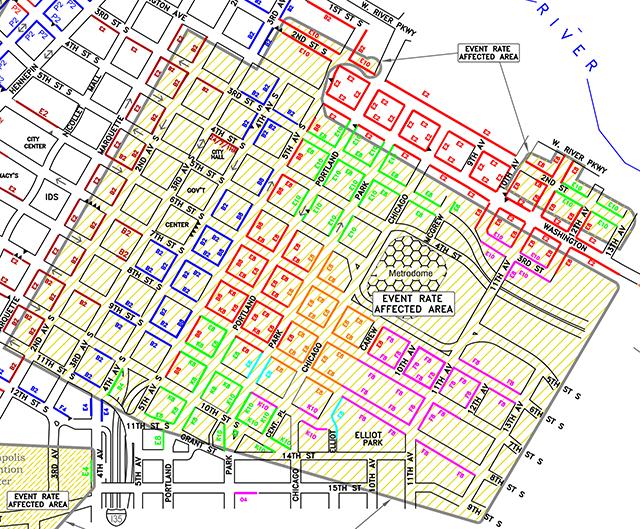 Metrodome parking meter chart