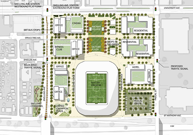 Rendering of Midway soccer stadium site