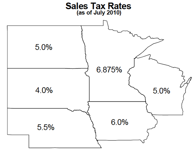 Midwest sales tax rates