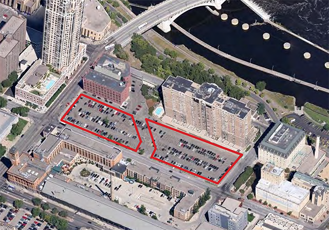 An aerial view of the proposed woonerf location.