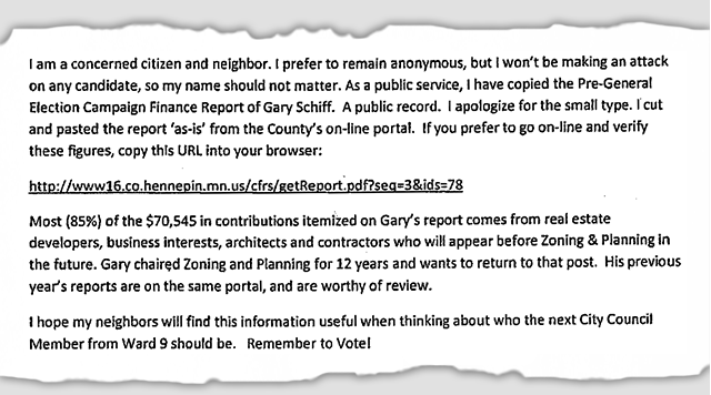 A detail from the anonymous campaign mailing