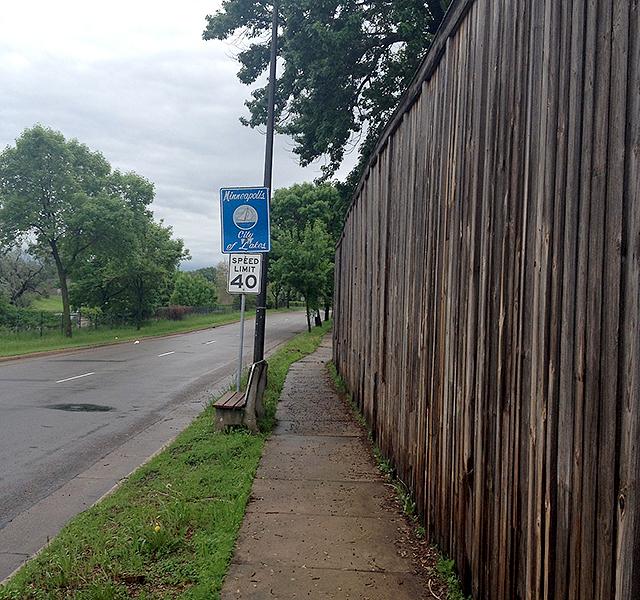 """Minneapolis City of Lakes"" sign"