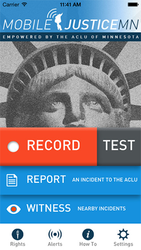 A screen shot of the Mobile Justice MN app.