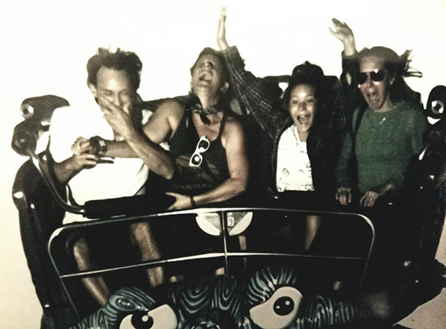 """Molly Maher and family on the """"Crazy Mouse Spinning Roller Coaster"""" in 2016."""