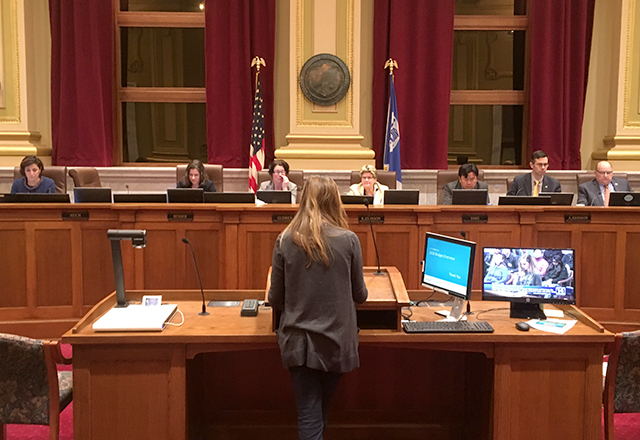 The Minneapolis City Council listening to public testimony