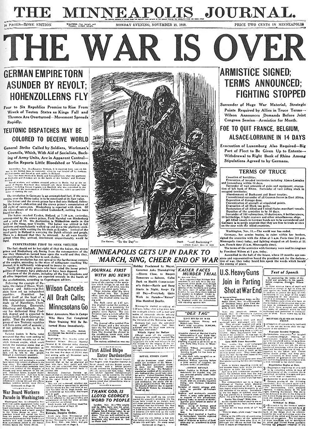 The front page of the Nov. 11, 1918, issue of the Minneapolis  Journal.