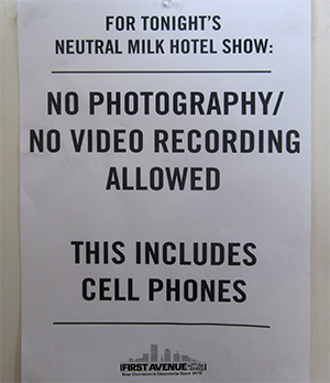 Neutral Milk Hotel's notice at First Avenue.