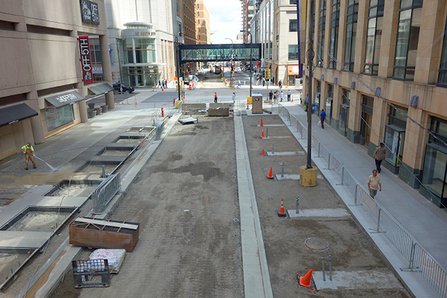 A view of Nicollet Mall from a skyway bridge.