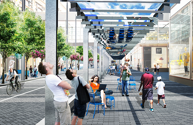 """A rendering of """"The Light Walk"""" between 6th and 8th Streets"""