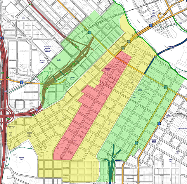 Map showing the three assessment categories on and around Nicollet Mall.