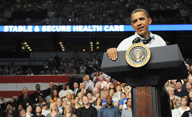 Obama holding a rally for his health insurance reform initiatives