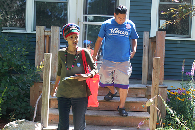 Ilhan Omar door-knocking with her campaign chair David Gilbert-Pederson