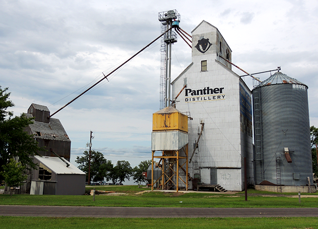 Panther Distillery, of Osakis, is advertised on a grain elevator