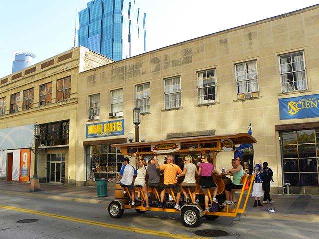 A pedal pub rolling down Nicollet in Minneapolis.