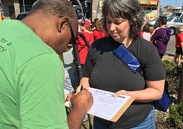 Volunteers collected signatures