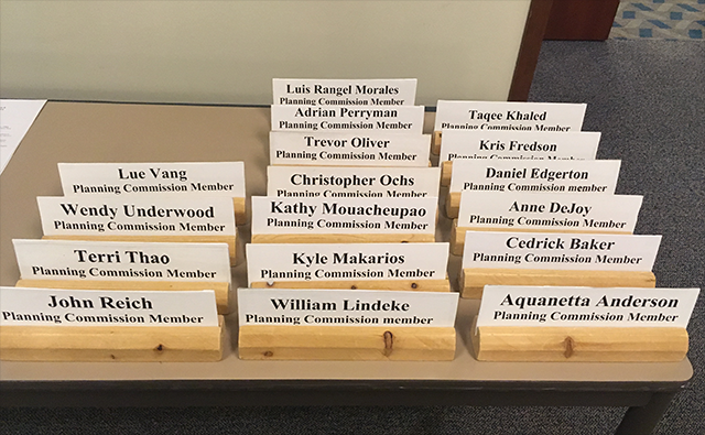 Planning Commission nameplates shown prior to Friday's meeting.