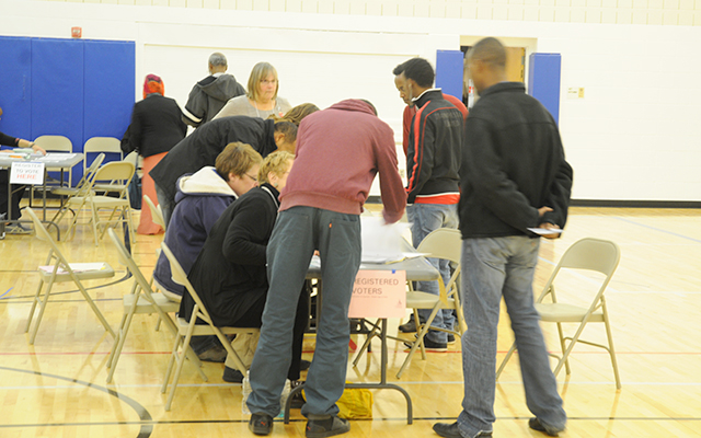 Pre-registered voters in the Brian Coyle Center on Tuesday