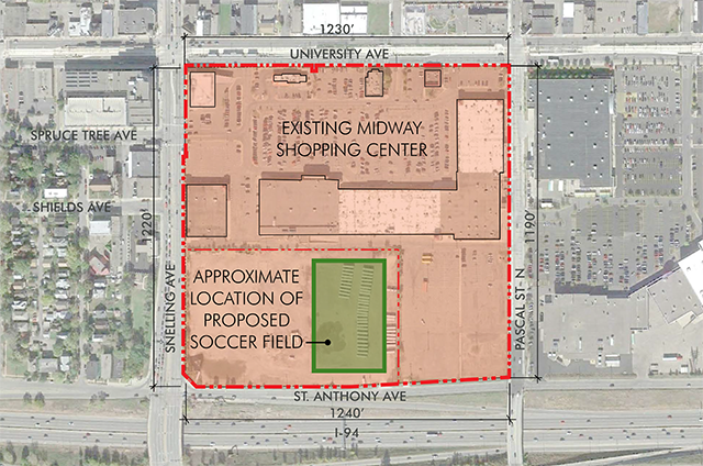 Overview of proposed soccer stadium location.