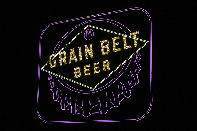 The newest light-up landmark in Minneapolis is the Grain Belt sign