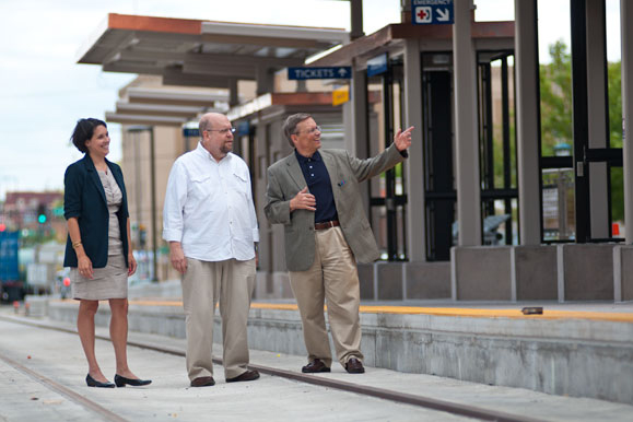 Maureen Ramirez, Jon Spayde and Dane Smith tour the future Central Corridor