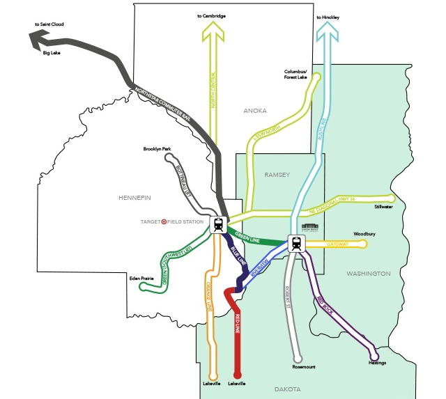 Regional transit map