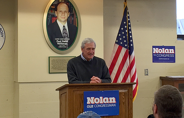 Rep. Rick Nolan speaking to constituents at the Labor Temple in Duluth