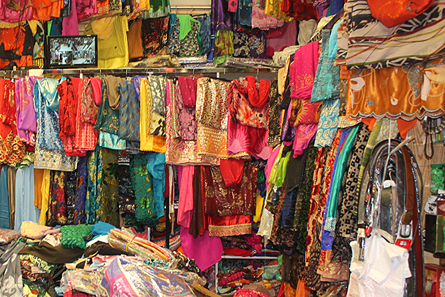Fabrics for sale at the Riverside Mall in the Cedar-Riverside neighborhood