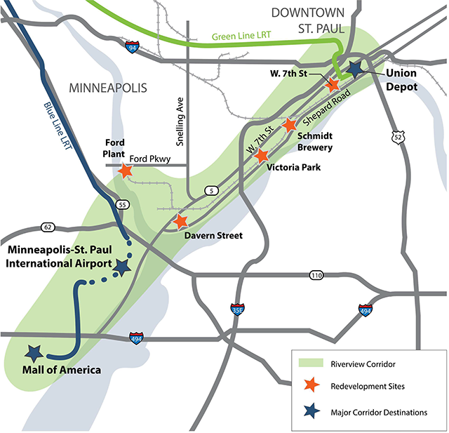 A map of the Riverview Corridor Pre-Project Development Study.