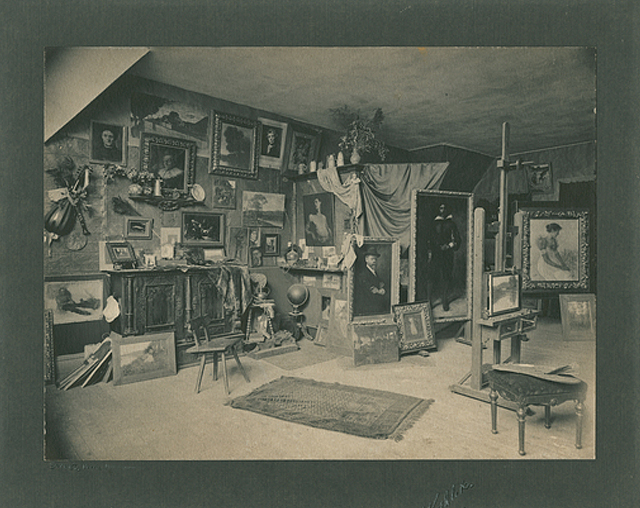 Studio of artist Robert Koehler, Minneapolis, circa 1900