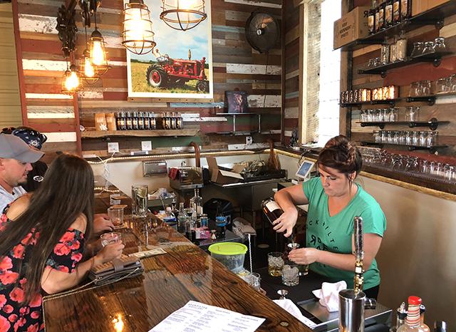 RockFilter Distillery employee Kate Staton serving drinks