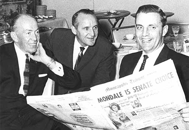 Gov. Karl Rolvaag, Miles Lord and Walter F. Mondale