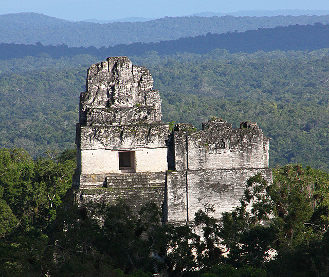 The tops of Temple 2, left, and Temple 1 in the ruins of Tikal, Guatemala.
