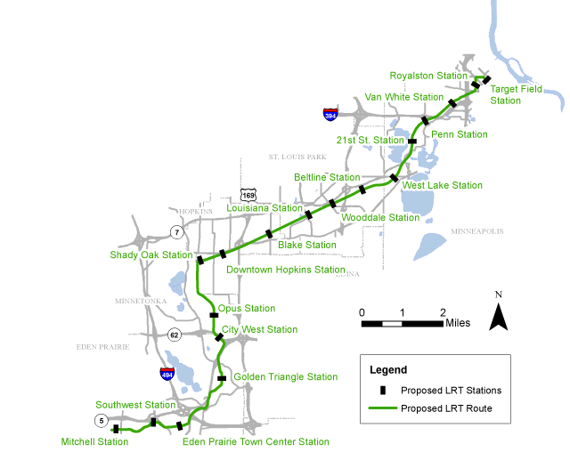 Proposed Southwest Light Rail line