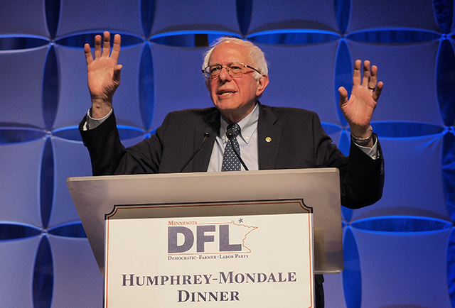 Sen. Bernie Sanders speaking at the Humphrey-Mondale dinner Friday night.